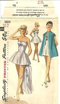 Vintage Pattern Bathing Suit Dress Wedding Gown