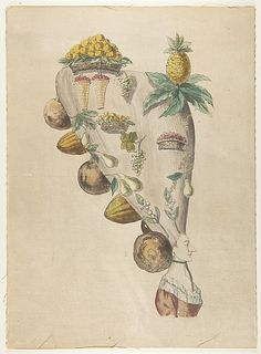 Fantastic Hairdresses with Fruit and Vegetable Motifs Anonymous, French, 18th century