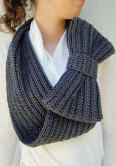 Charcoal/ Dark Gray Bow Infinity Scarf, Chunky Neck Warmer / Cowl, crocheted, handmade, Ready to Ship