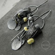Earrings - raw sterling silver and Baltic amber & black tourmaline - hoop, hook, clip on earwires Mixed Metal Jewelry, Copper Jewelry, Wire Jewelry, Jewelry Art, Beaded Jewelry, Jewelery, Jewelry Design, Do It Yourself Decoration, Earrings Handmade