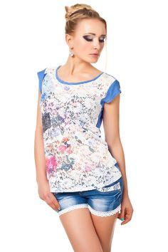 Florales Spitzen Shirt Nieten