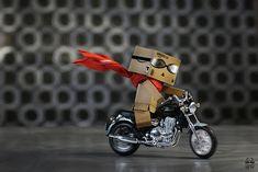 Danboard on his motorbike.