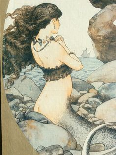 """1916 mermaid cover illustration from """"La Vie Parisienne"""" by French artist Cheri Herouard"""