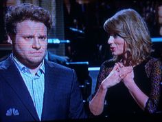 """Taylor is in Seth's opening monologue on SNL! """"Whenever a man shows emotion I appear!"""" HAHA"""