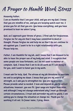 A prayer to handle stress at work. Pray aloud or silently in your heart. Let God help you through your work stress today. Prayer For Work Stress, Work Stress Quotes, Prayer For Guidance, Prayer For Anxiety, Prayer For Protection, Scripture For Stress, Work Stress Humor, Prayer Scriptures, Bible Prayers