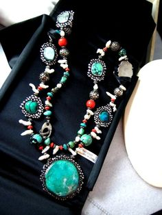 Substantial Southwest Necklace!!!  Vintage Sterling Silver Necklace Multi-Gemstone Turquoise Coral Pearl Druzy #Handmade #Southwest #iriniri #jewelry #necklace #turquoise