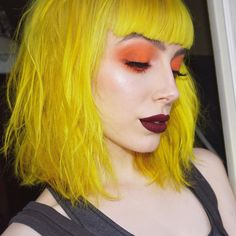Pin by lunar tides hair on yellow hair цветные волосы, волос Hair Inspo, Hair Inspiration, Summer Hairstyles, Cool Hairstyles, Flame Hair, Orange Eyeshadow, Theatrical Makeup, Yellow Hair, Coloured Hair