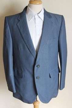 #Vintage mens 70s #flare blue #stripe suit jkt 42 trs w35 l30 ,  View more on the LINK: http://www.zeppy.io/product/gb/2/201628632659/