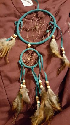 Teal small Dream Catcher! Perfect for your car or a child's room! Only 8.99! Shipping additional.  Www.facebook.com/angeldreams629