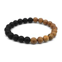Fashion men's natural wood beads matte black onyx beaded buddha meditation prayer wood bead bracelets women yoga jewelry