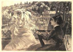 """""""La terrasse de la Villa Brancas : Sur la terrasse d'une villa qui domine la vallée de la Sèvres, en face de la vieille manufacture et des hauteurs de Bellevue, deux jeunes femmes, dont l'une dessine, et l'autre pose, abritée sous son ombrelle."""" (Béraldi 215). Eau-forte originale de Félix Bracquemond (1833-1914). MAS Estampes Anciennes - Antique Prints since 1898"""
