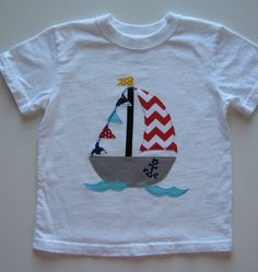Boys Appliquéd Sail Boat with Sails and Waves and a little anchor too!