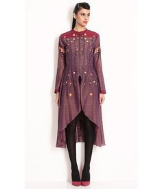 Nida Mehmood Mauve And Pink Cotton Silk Tailcoat With Machine Embroidery And Front Zipper, http://www.snapdeal.com/product/nida-mehmood-mauve-and-pink/8713666