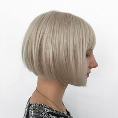 Chin Length Blonde Bob With Bangs