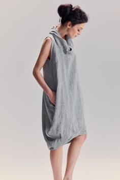 Light Grey Denim Loose Dress / Linen Dress With Hidden Side