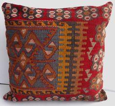 "MODERN Bohemian Home Decor,Handwoven Turkish Kilim Pillow Cover 16"" X 16"",Decorative Kilim Pillow,Vintage Kilim Pillow"
