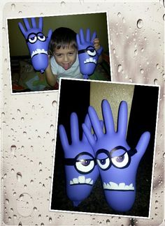 Bad Minions! Rainy day activity!  Purple latex gloves, sharpies and white paint!