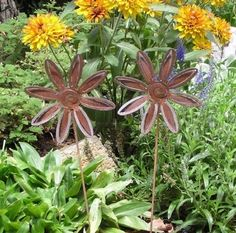 2 Rusty Metal  Flower Garden Art Yard Stake Set by MountainIron, $19.99