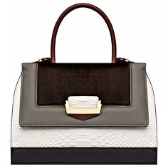 The Volon Marcia Mini White Tote Bag (31.212.615 VND) ❤ liked on Polyvore featuring bags, handbags, tote bags, purses, white, snakeskin handbags, mini handbags, color block tote, white purse and mini tote bag