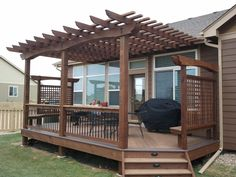 Cedar pergola materials are the best investment a DIY can make, for several reasons. Cedar pergola materials are insect resistant, resist rot and decay. Pergola Metal, Cedar Pergola, Small Pergola, Pergola Canopy, Pergola Attached To House, Deck With Pergola, Wooden Pergola, Outdoor Pergola, Backyard Pergola