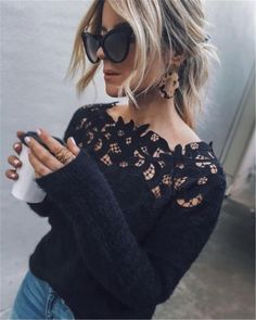 US Women Long Sleeve Knitted Lace Splice Cardigan Sweater Outwear Coat Tops Black Sweaters, Sweaters For Women, Off Shoulder Sweater, Sexy Shirts, Looks Style, Mode Outfits, Mode Style, Pulls, Ideias Fashion