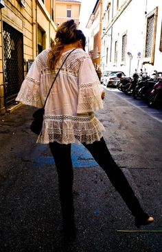 Can I please have this in my closet now? that beautiful lace shirt and curly pony
