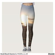 Discover Yoga leggings at Zazzle! Bondi Beach, Athletic Wear, Women's Leggings, Cool T Shirts, Sportswear, Active Wear, Beach Sunrise, Sunset, Purple