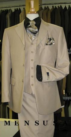 SKU#M300A British Tan Solid Three Piece Three Button Suit double vented $125