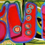 Carol Bass Art, most of her art is huge, 60 x 60, and certainly colorful, which I looooove!
