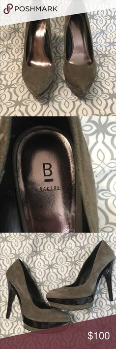 Bakers Heels Sleek with gray suede and shiny black heels and bottoms. Gently worn, looks amazing with jeans or dresses! Bakers Shoes Heels
