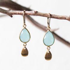 Aquamarine Blue Chalcedony Crystal Semi Precious Stone Bezel Gold Filled Leverback & Flower Rose Petal Vermeil Dangle Drop Teardrop Earrings