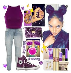 """""""Purple Vibes💜😈"""" by officially-mya ❤ liked on Polyvore featuring Zizzi, Converse and Louis Vuitton"""