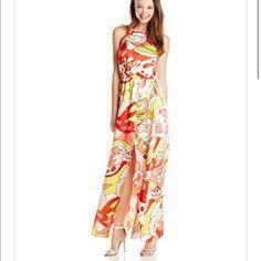 Retro Print Maxi Dress New with tags! Fun retro printed maxi dress. Size medium. Criss-cross back. Elastic waist. 100% polyester XOXO Dresses Prom