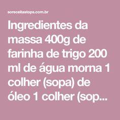 Ingredientes da massa 400g de farinha de trigo 200 ml de água morna 1 colher (sopa) de óleo 1 colher (sopa) de vinagre branco 1 colher (sopa) de cachaça 1 colher (chá) de sal Ingredientes do recheio 500g de carne moída 1 colher(sopa) de óleo ½ cebola pequena cortada em cubos 1 alho amassado 1...