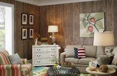 how to decorate wood paneling without painting - Google Search