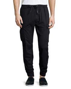 Cargo-Pocket Jogger Pants, Black, Size: LARGE - Hudson Jeans