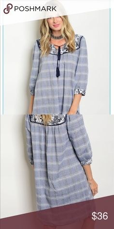 Longish denim like boho dress. Shades of blue. Lightweight denim blue body with white stripes. Yoke is dark blue with white flowers and small round crochet. MIDI length unless you are very tall. Medium length sleeves in dark blue And ivy. Great for fall days or cool nights. Dress up or down. Heels or boots. Bundle for less. 100% cotton . No stretch. True to size. Loose fitting. Dresses Midi