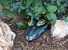 Garden Decor Alligator Rock - painted rocks to look like an alligator hiding in your garden