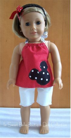 Mickey Mouse outfit for American Girl Doll American Girl Outfits, Ropa American Girl, American Doll Clothes, American Girl Crafts, American Dolls, Mickey Mouse Outfit, Mickey Shirt, Minnie Mouse, Sewing Doll Clothes