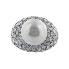 Pave Diamond & Pearl Ring, signed Van Cleef & Arpels by   Van Cleef & Arpels