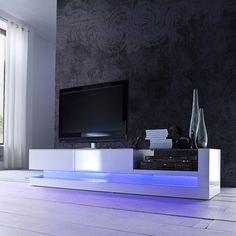 Buy Evoque White High Gloss TV Unit With Colour Effects Lighting From  Furniture123   The UKu0027s
