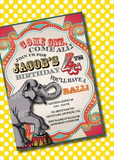 DIY Printable Vintage Carnival Customizable Birthday Party Invitation via Etsy