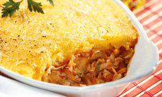Assado de mandioquinha, queijo e peru
