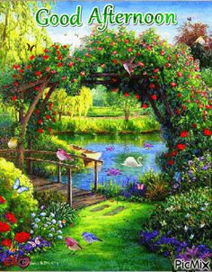 Good afternoon sister and all.enjoy your afternoon xxx❤❤❤💌 Good Morning Posters, Good Afternoon Quotes, Church Pictures, Gif Pictures, Beautiful Gif, Beautiful Pictures, Beautiful Paintings, Summer Gif, Riverside Garden