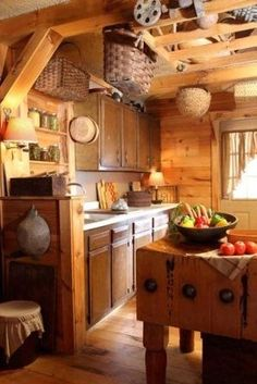 Timber Frame Kitchen...love the old chopping block.