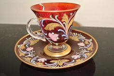 Murano Venetian Cranberry Glass Footed Cup and Saucer