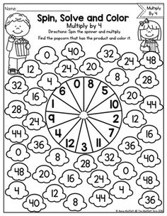 Multiplication: Spin, Solve and Color by The Moffatt Girls Math For Kids, Fun Math, Math Games, Teaching Multiplication, Teaching Math, Teaching Activities, Math Sheets, Christmas Worksheets, Singapore Math