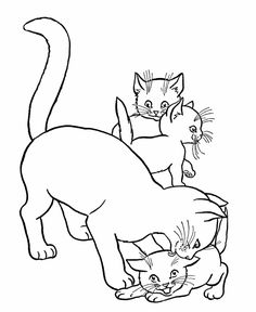Cat Coloring Pages | Printable Mother Cat and kittens Coloring Page | HonkingDonkey