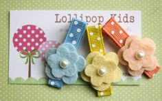 Toddler Hair Clip Girls Hair Clip Infant Hair Clip Children Hair Accessory Peach Blue Yellow Wool Felt Flower Hair Clip Hair Bow. $6.50, via Etsy.