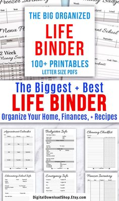 Whole Life Binder Printable- Printable life binder- made up of a black and white budget binder, home binder, and recipe binder. It's easy to get your whole life organized and under control with this big binder printables bundle! Life Binder, Family Emergency Binder, Emergency Binder Free Printables, Printable Budget, Printable Planner, Printable Lables, Printable Calendars, Printable Templates, Planner Template